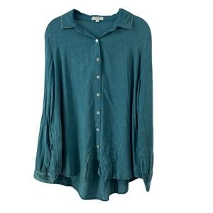 Umgee Turquoise Stone Wash Long Sleeve Button Down